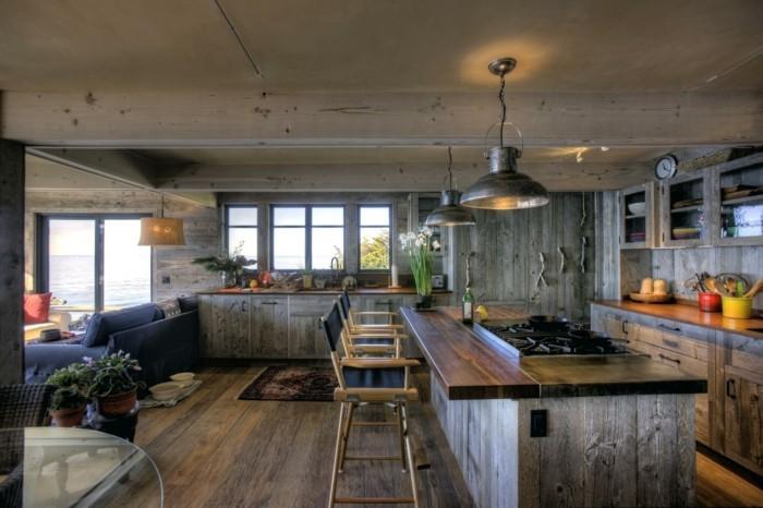 moderne wandgestaltung küche graunuancen wandverkleidung