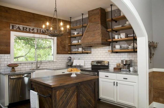 moderne wandgestaltung küche landhausstil weiße küchenschränke