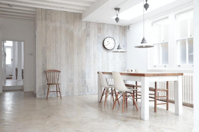 moderne wandgestaltung minimalistische küche holzwand