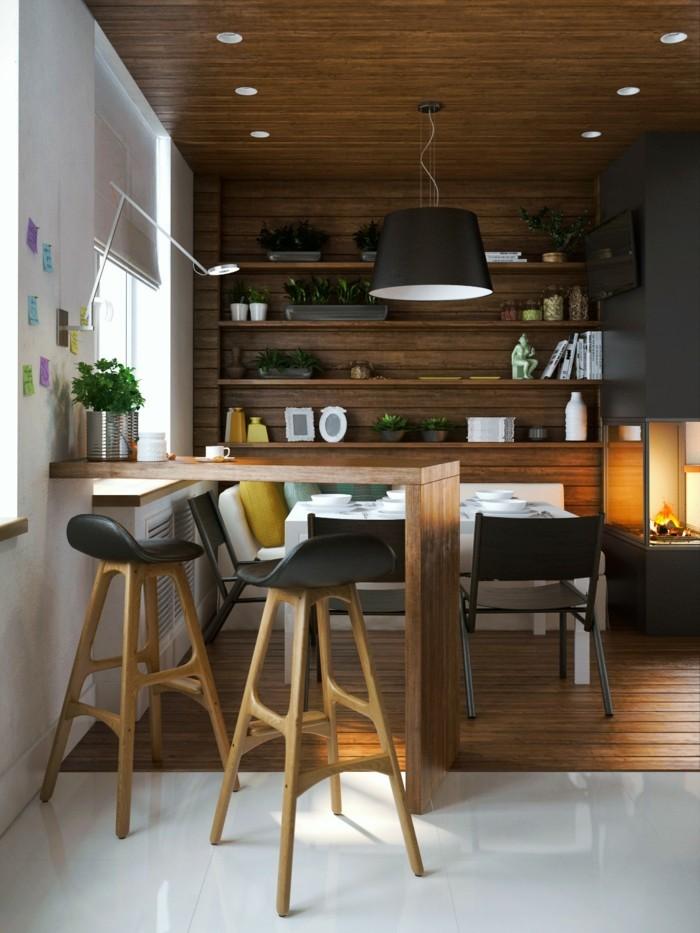 moderne wandgestaltung moderne küche essbereich