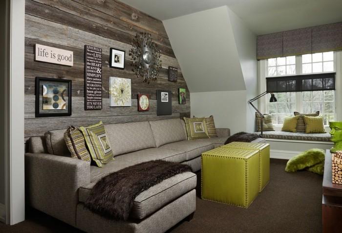 moderne wandgestaltung wohnzimmer holzwand grüner couchtisch