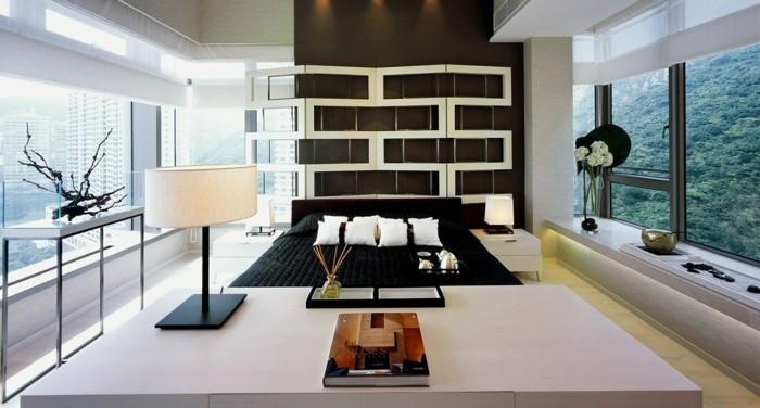 modernes schlafzimmer akzentwand schwarze bettwäsche