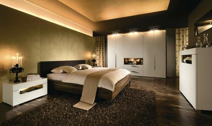Hochwertig Modernes Schlafzimmer Brauner Teppich Schöner Bodenbelag Moderne Beleuchtung
