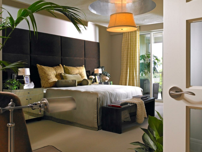 modernes schlafzimmer design abgehängte decke pflanzen