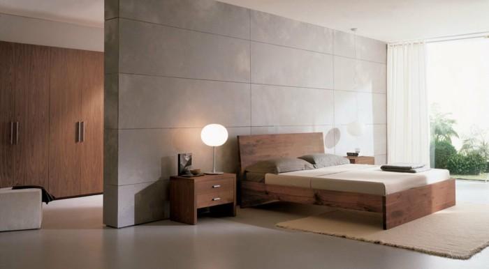 modernes schlafzimmer minimalistische züge erdige farben