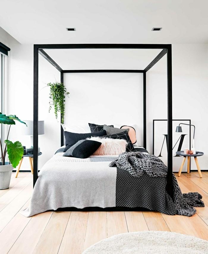 modernes schlafzimmer schöne stoffmuster kombinieren holzboden dekokissen