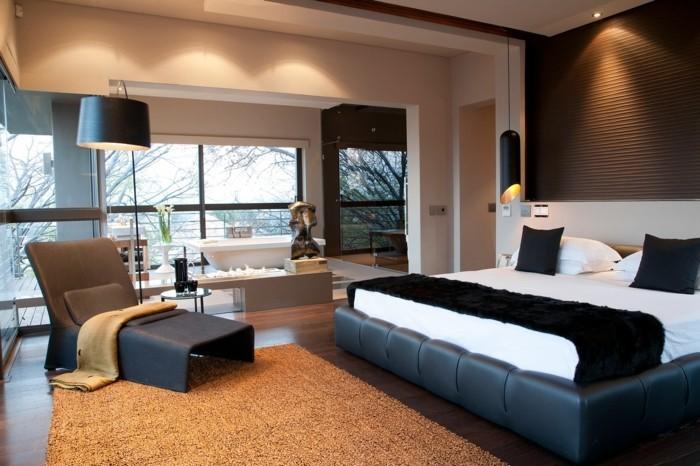 modernes schlafzimme schwarze akzente hängelampen gemütlich