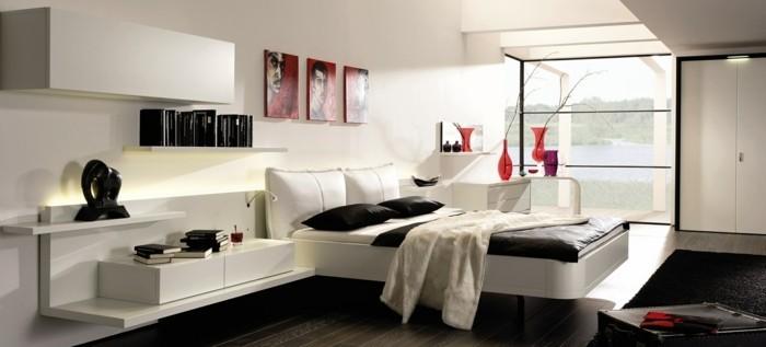 modernes schlafzimmer weiß schwarz rote akzente