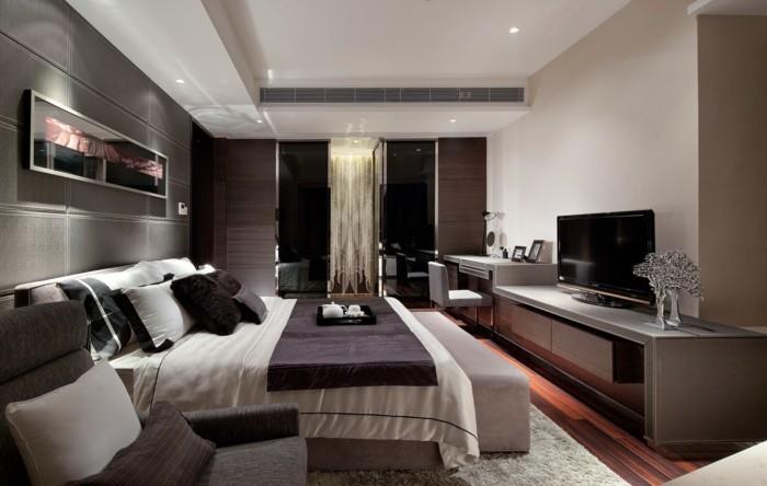 modernes schlafzimmer weicher teppich dezente farben