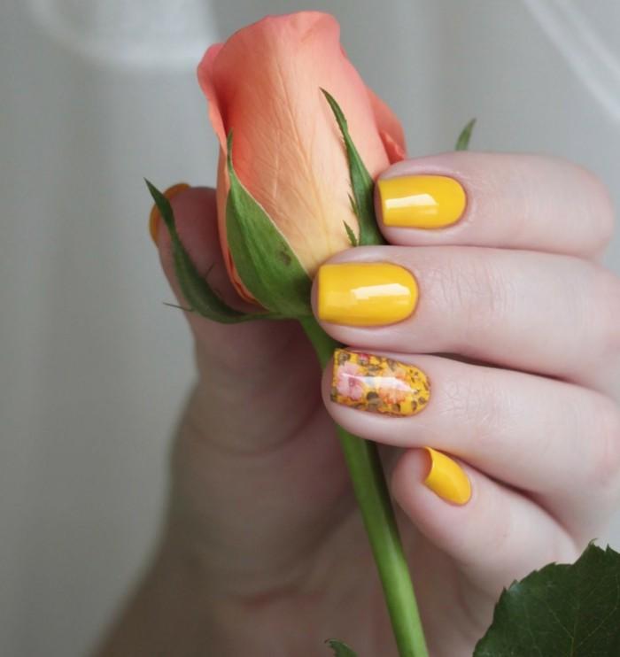 nageldesign ideen herbst gelber nagellack frisches muster