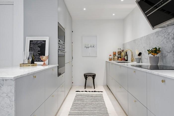 offene küche in weiß trennen