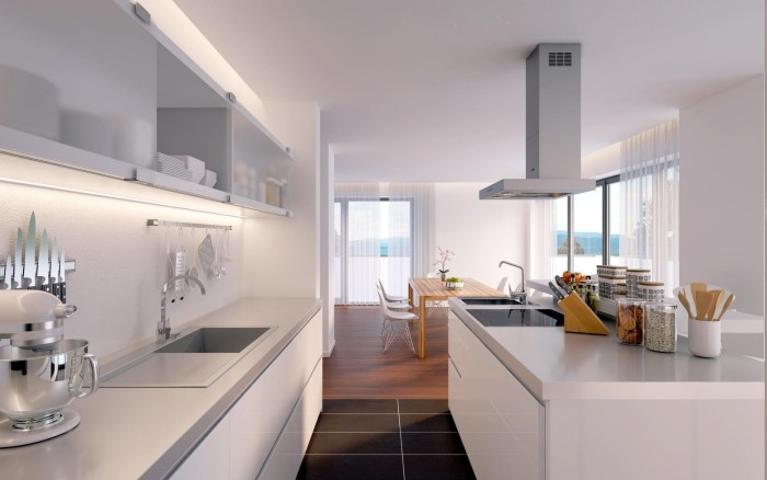 offene küche modern gestalten in mehrere zonen trennen
