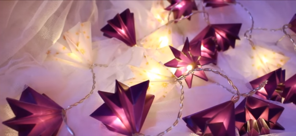 origami zu weihnachten falten lichterkette basteln