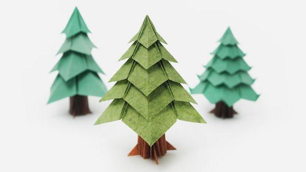 papier weihnachtsbäume basteln origami weihnachten