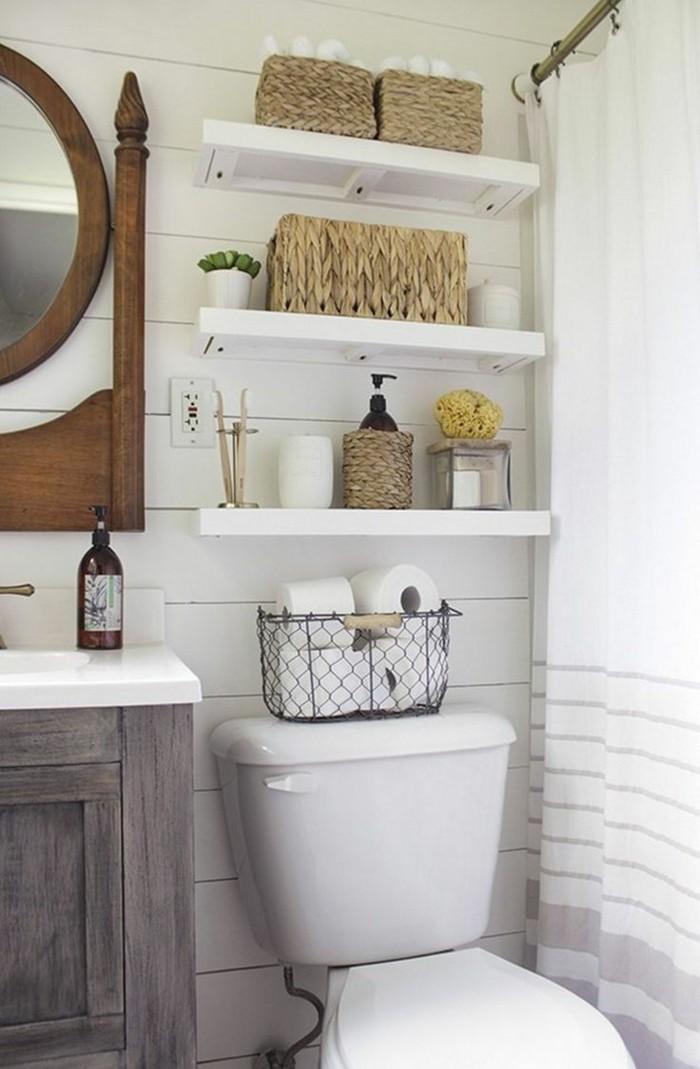 rustikale deko im badezimmer körbe
