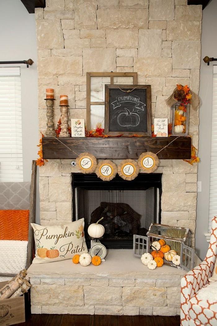 rustikale deko wohnzimmer zu halloween dekorieren