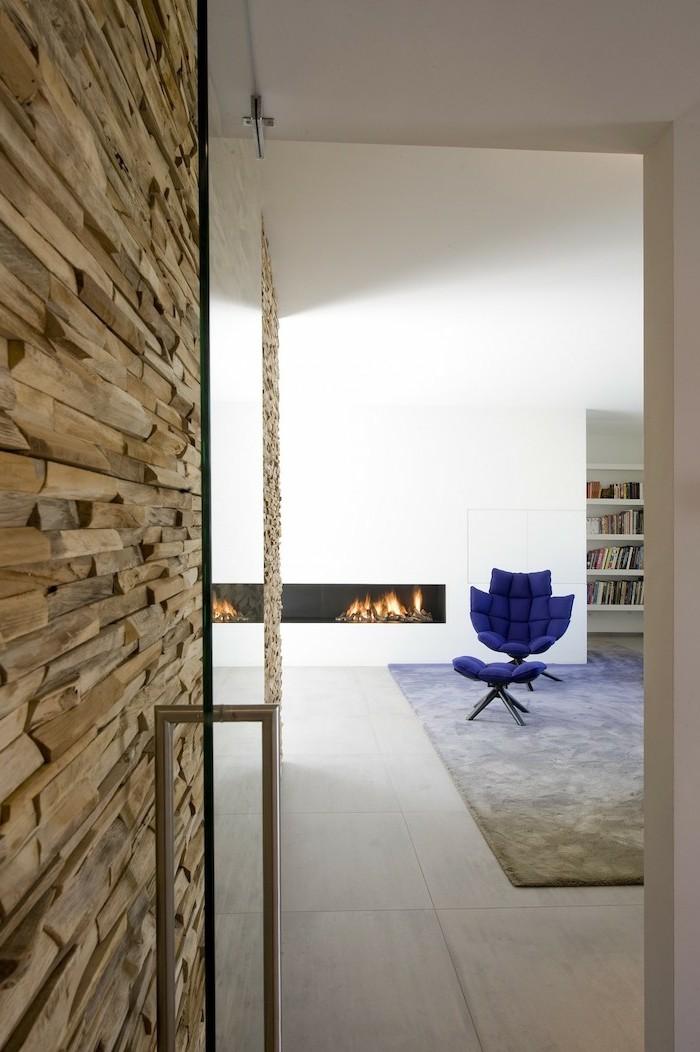 rustikale holzwaende akzentwand im minimalistischen wohnbereich
