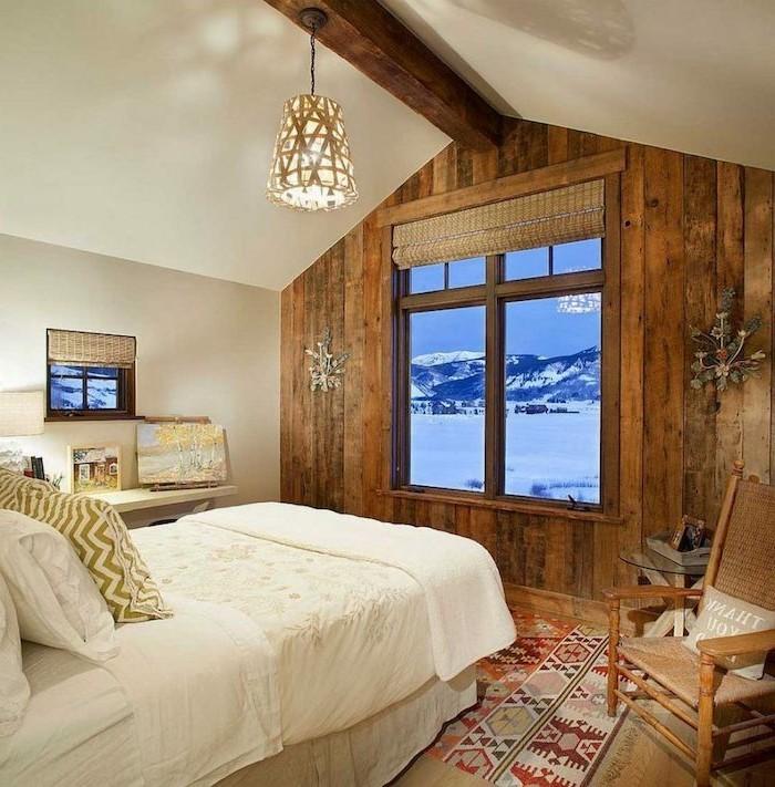 Rustikale Holzwaende Holzwand Im Schlafzimmer