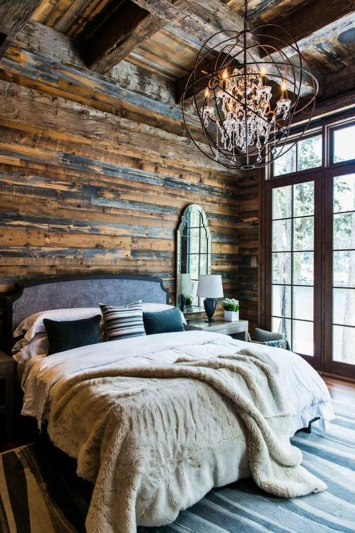 rustikale holzwaende schlafzimmer landhausstil ausgefallene akzentwand