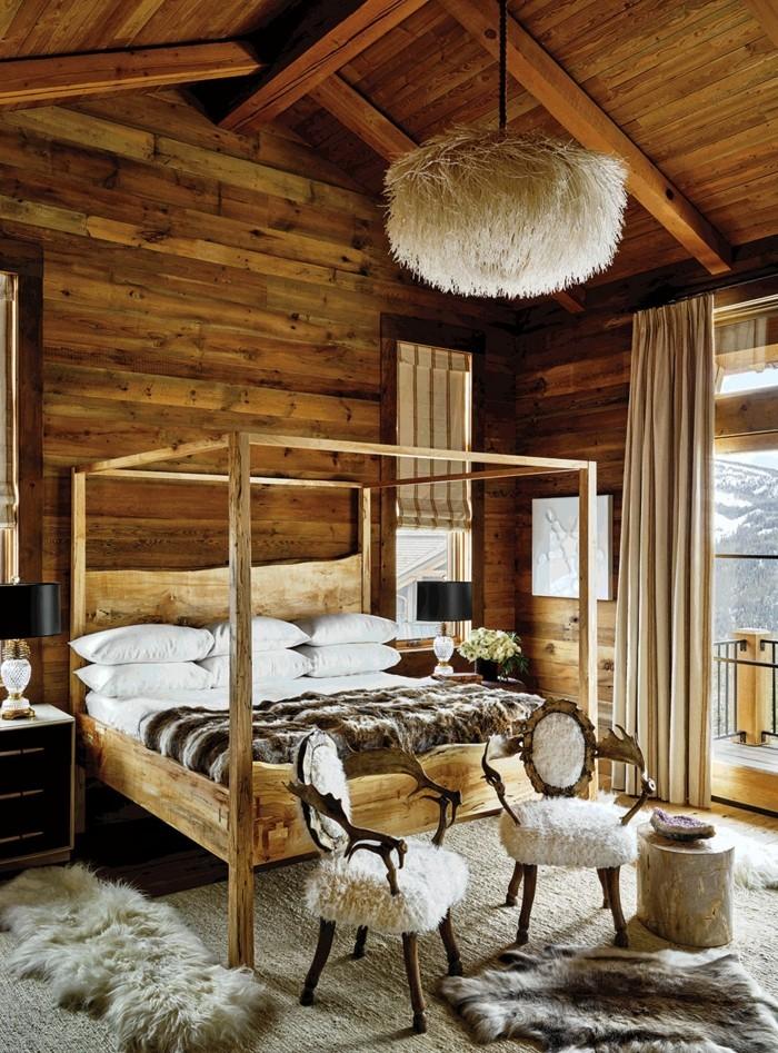 rustikale holzwaende schlafzimmer landhausstil hoelzerne akzentwand