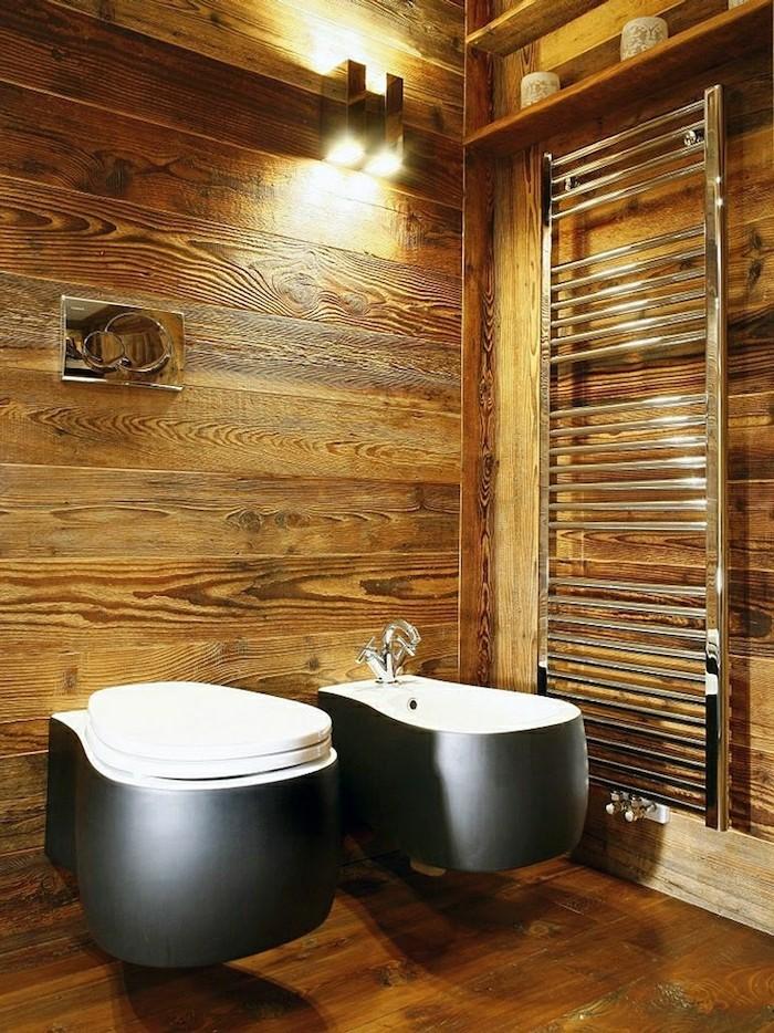 rustikale holzwaende wandgestaltung im badezimmer