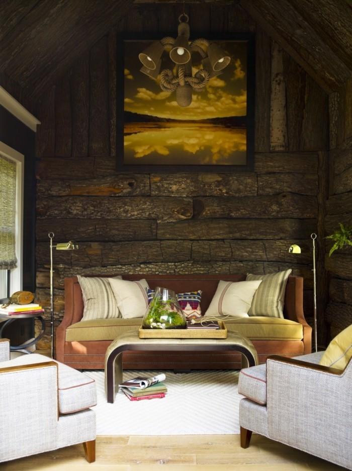 rustikale holzwaende wohnideen wohnzimmer für echte eyecatcher