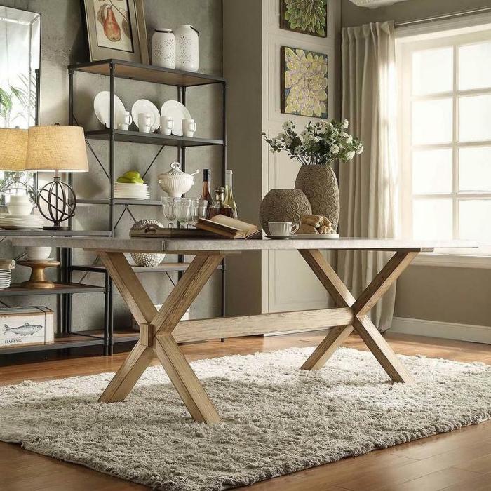 rustikale wohndekoration accessoires ausstellen heller teppich