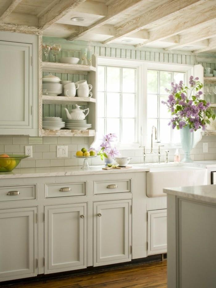rustikale wohndekoration küche geschirr blumen