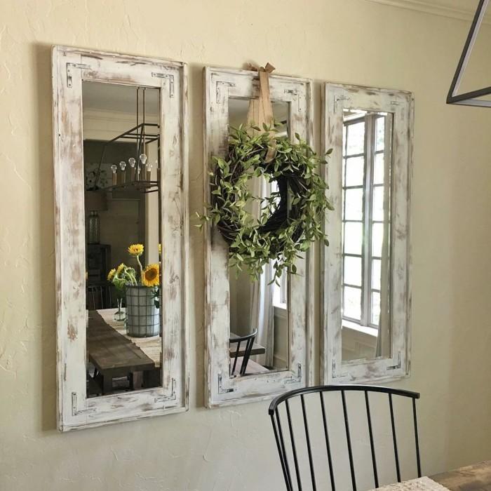 rustikale wohndekoration wanddeko wandspiegel pflanzen