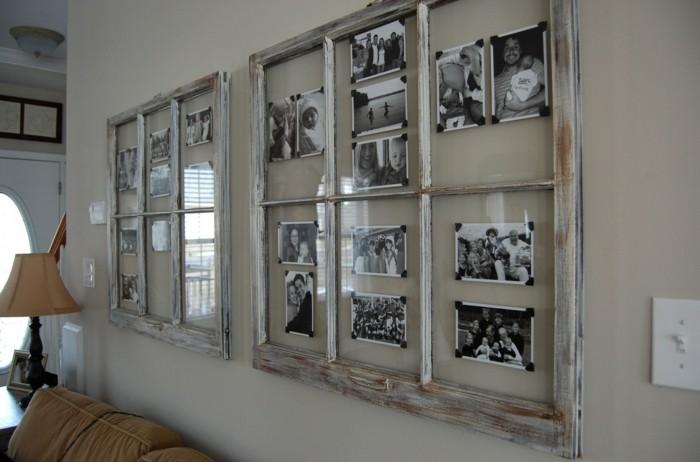 rustikale wohndekoration wohnzimmer wanddeko fotorahmen