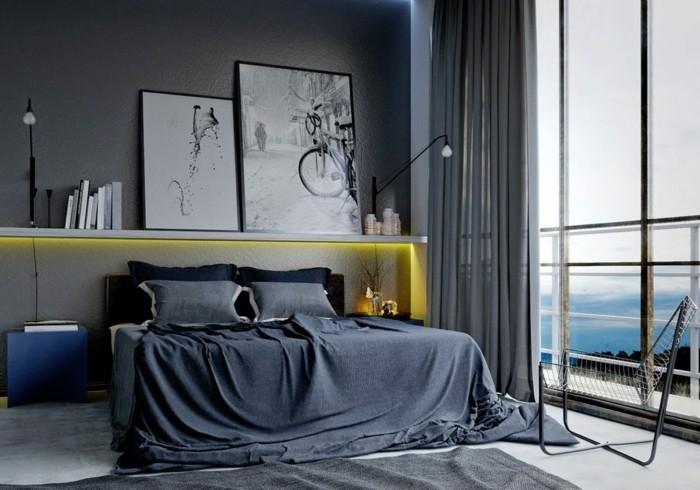 schlafzimmer einrichten maskulinum grau