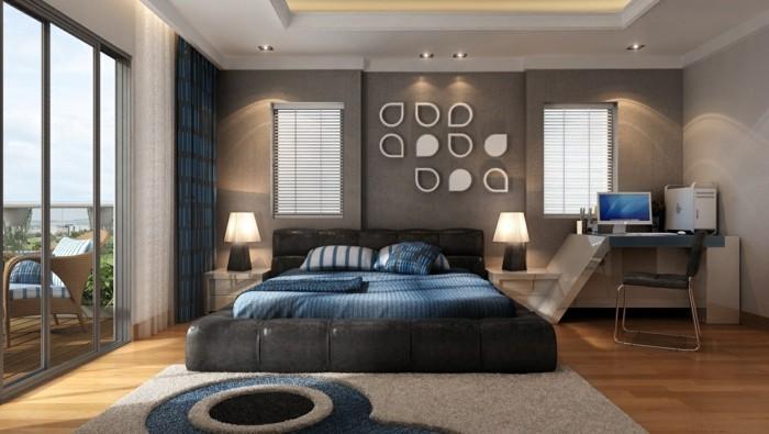 schlafzimmer einrichten modernes bett schöne akzentwand blaue akzente