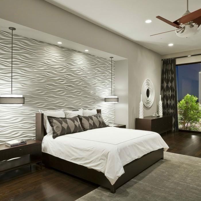 schlafzimmer einrichten weiß braun schöne textur akzentwand