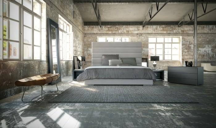 schlafzimmer ideen industrieller look graunuancen