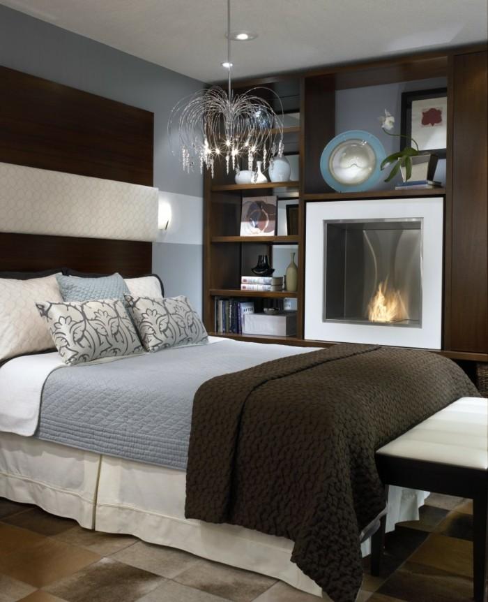 schlafzimmer ideen kamin braune akzente