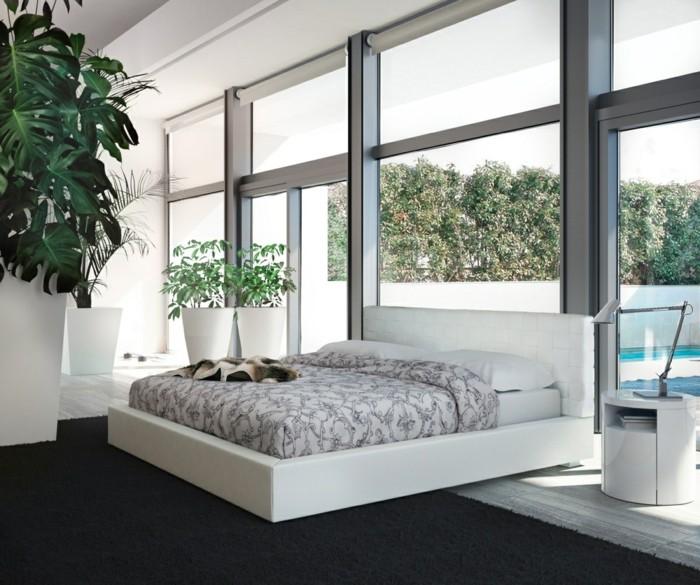 schlafzimmer ideen modern elegant dunkelgrauer teppich