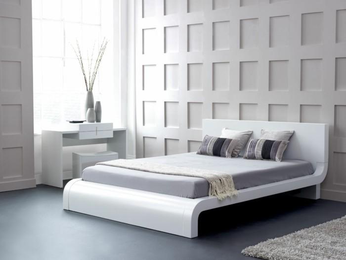 schlafzimmer ideen modernes bettdesign grauer boden
