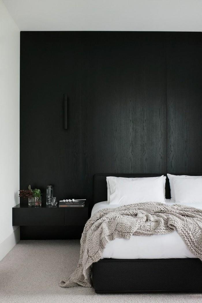 schlafzimmer ideen schwarze akzentwand heller teppichboden