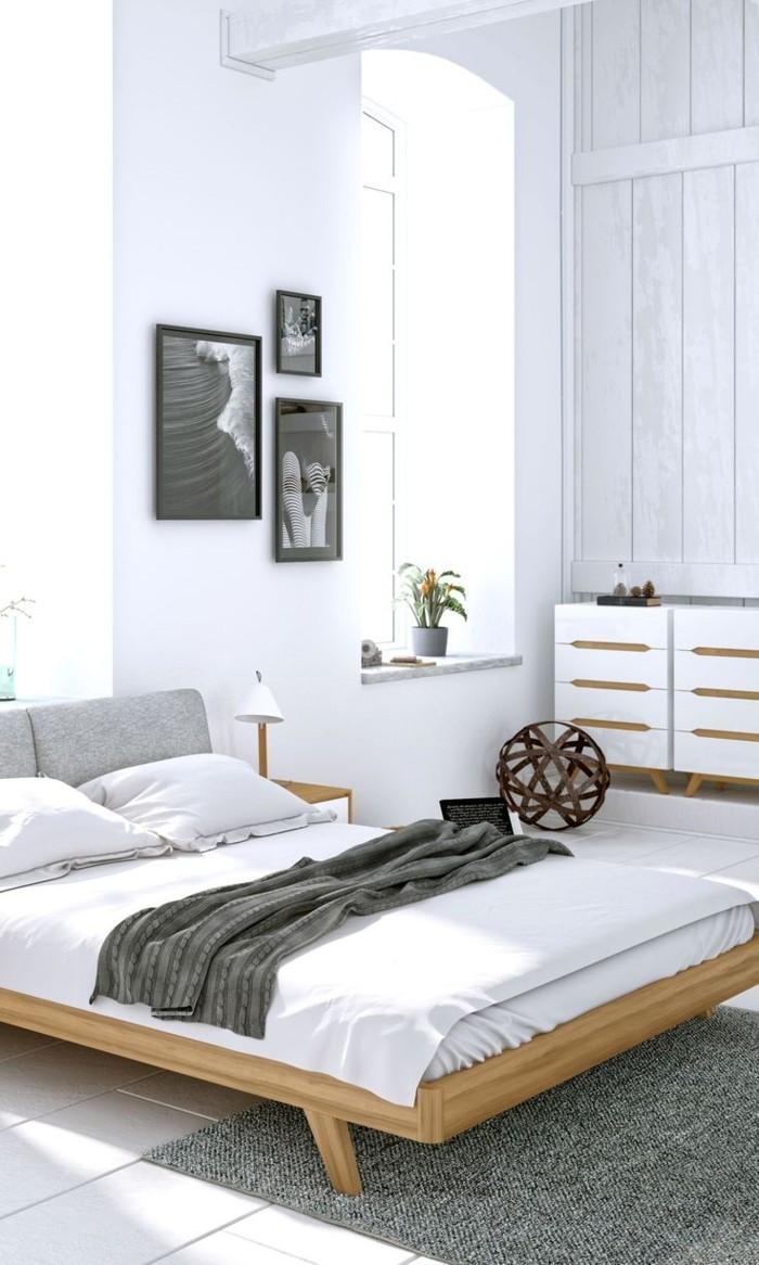 schlafzimmer ideen weiße wände weiße bettwäsche grauer teppich