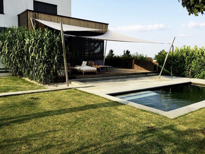 schwimmteich minimalistische gartenlandschaft