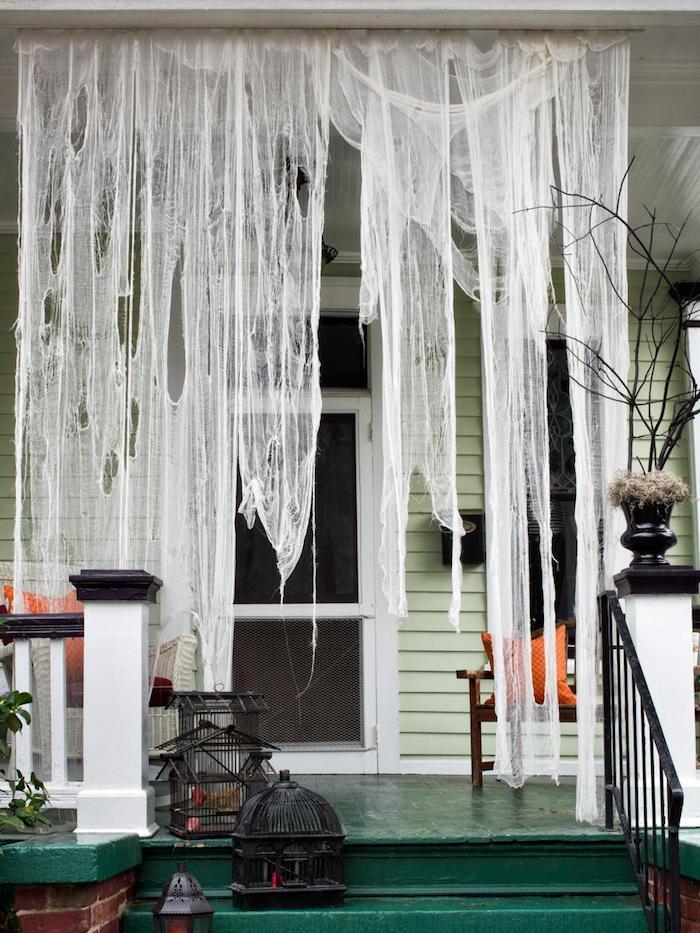 spinngewebe selber machen halloween party deko