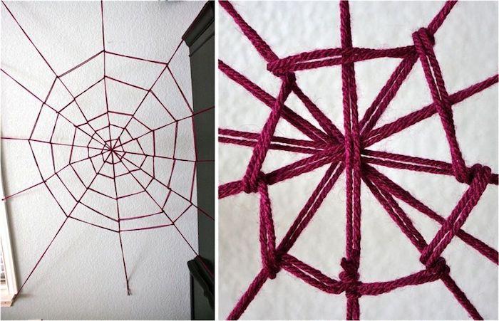 spinnweben aus garn selber machen zu halloween