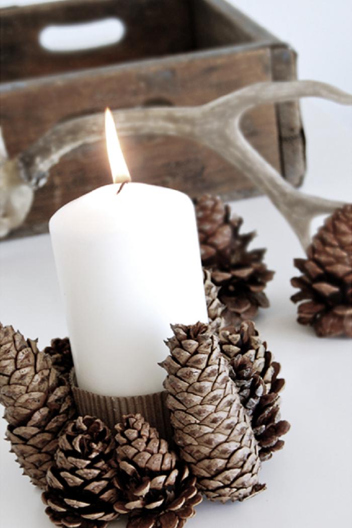 tannenzapfen kerzenständer zapfen weihnachten dekoideen