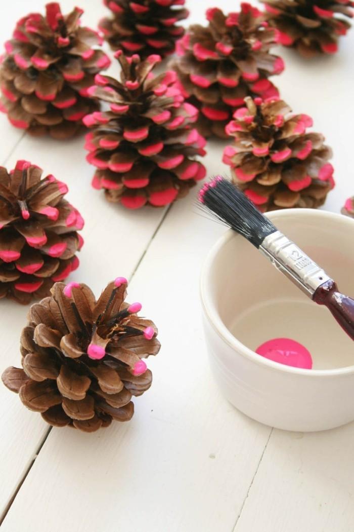 tannenzapfen zapfen färben rosa diy ideen
