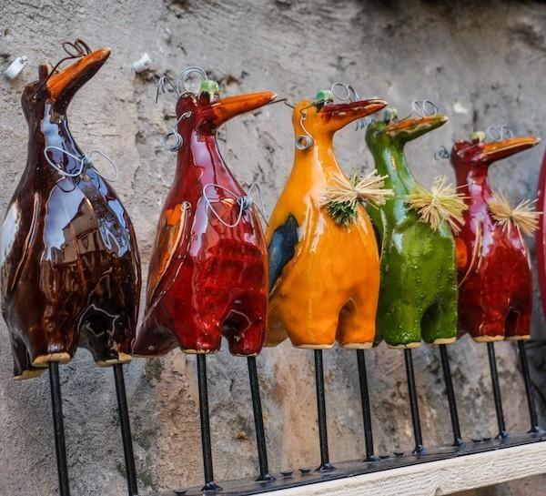 vögel figuren gartenkeramik
