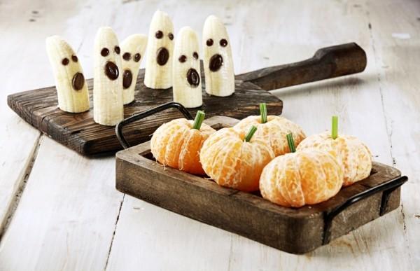vegane ideen fuer halloween fingerfood bananen clementinen