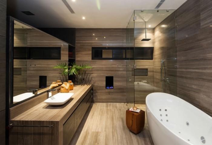 wandgestaltung ideen badezimmer duschkabine badewanne