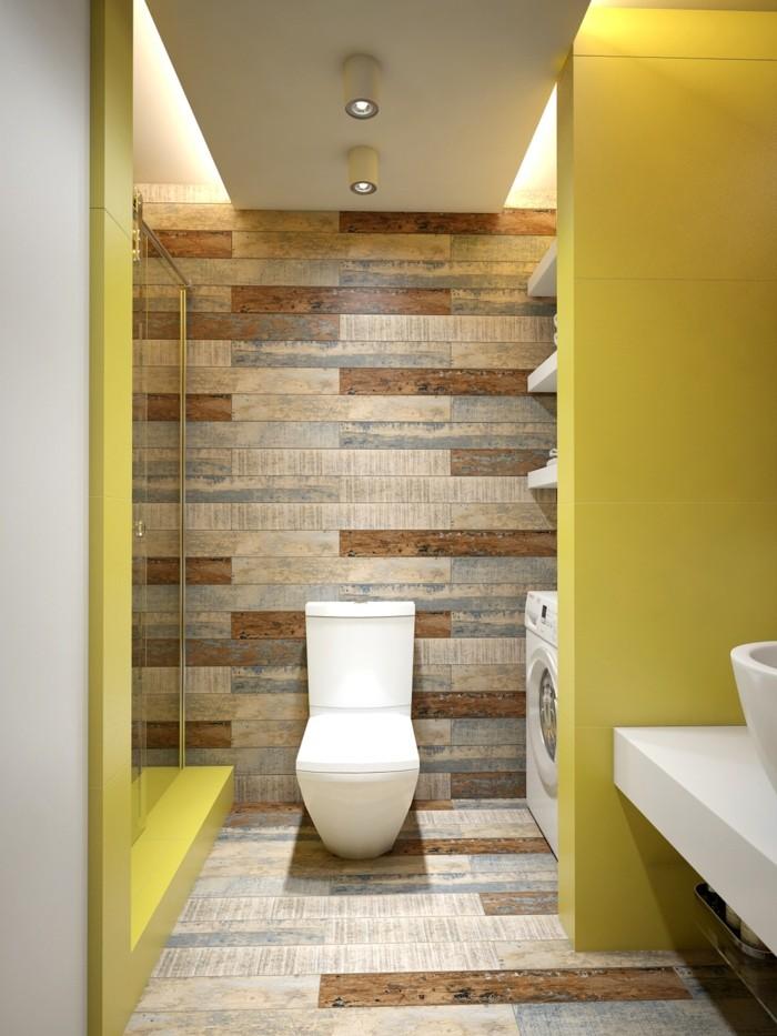 wandgestaltung ideen badezimmer einrichten gelbe wände