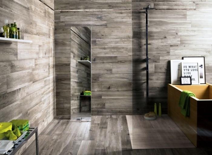 wandgestaltung ideen badezimmer grüne akzente