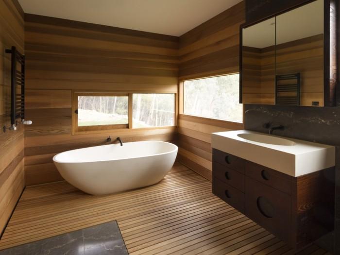 Wandgestaltung Ideen Badezimmer Holz Natürlich Modern Gemütlich